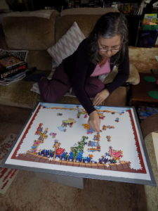 My mum doing puzzle