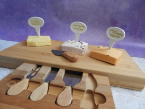 Vegan cheeses on  Tru Bamboo cheeseboard