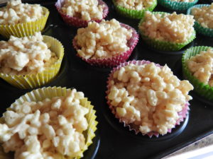 Close up of rice krispie cakes