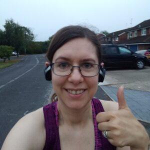 running after a break thumbs up