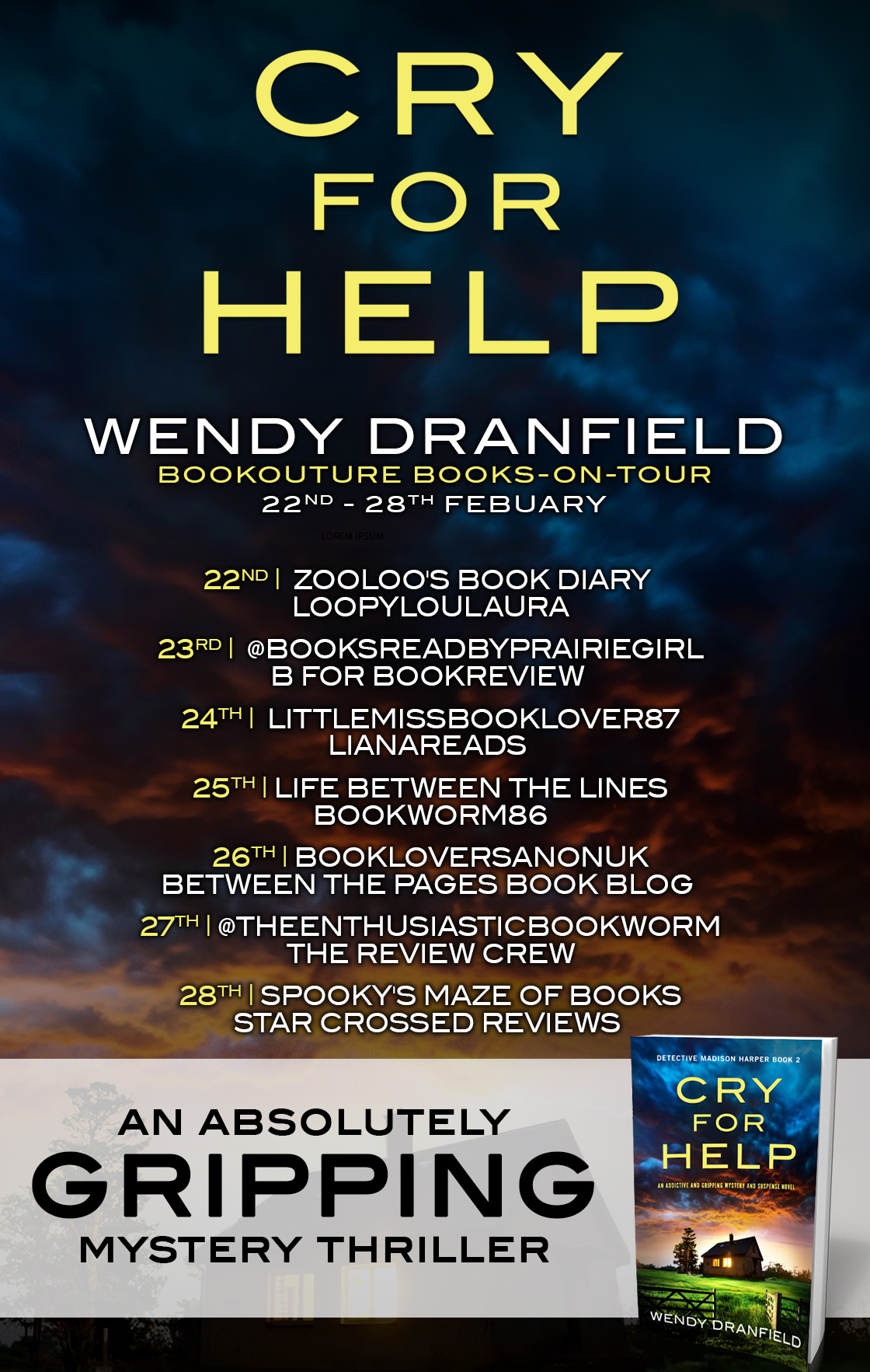 Cry For Help blog tour banner