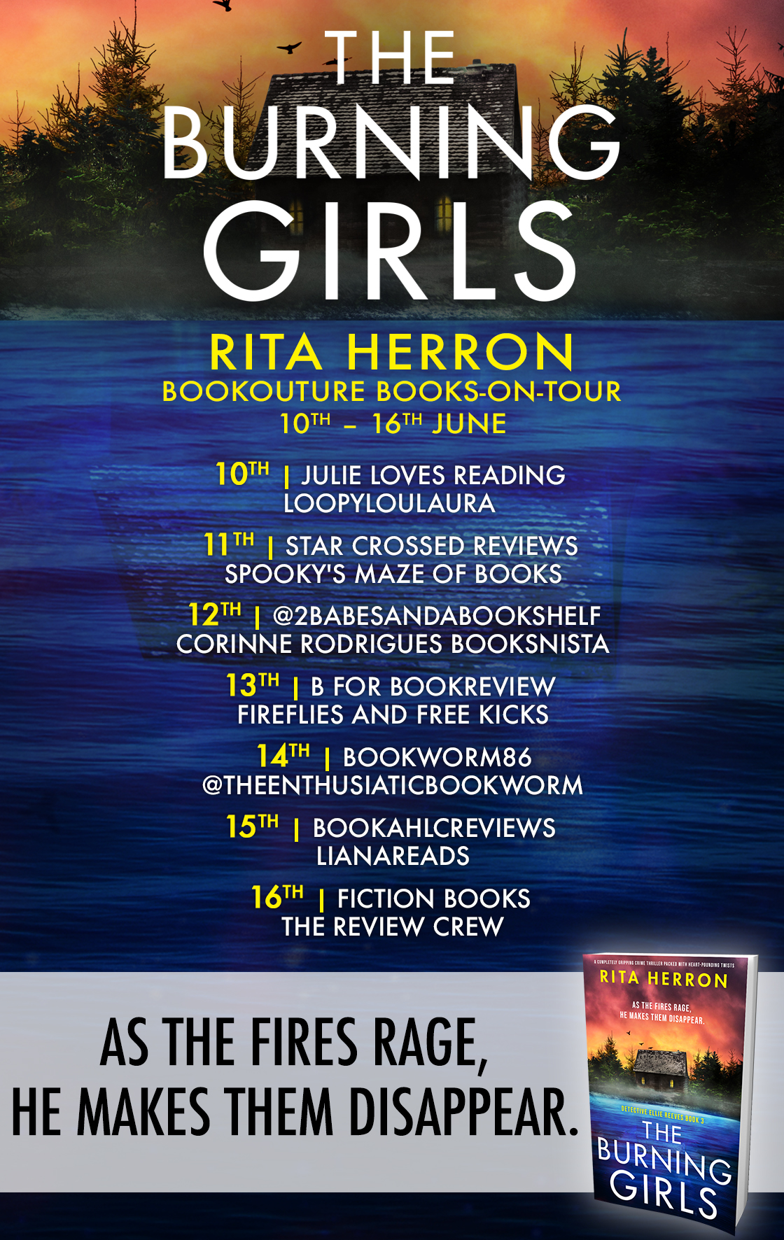 The Burning Girls blog tour banner