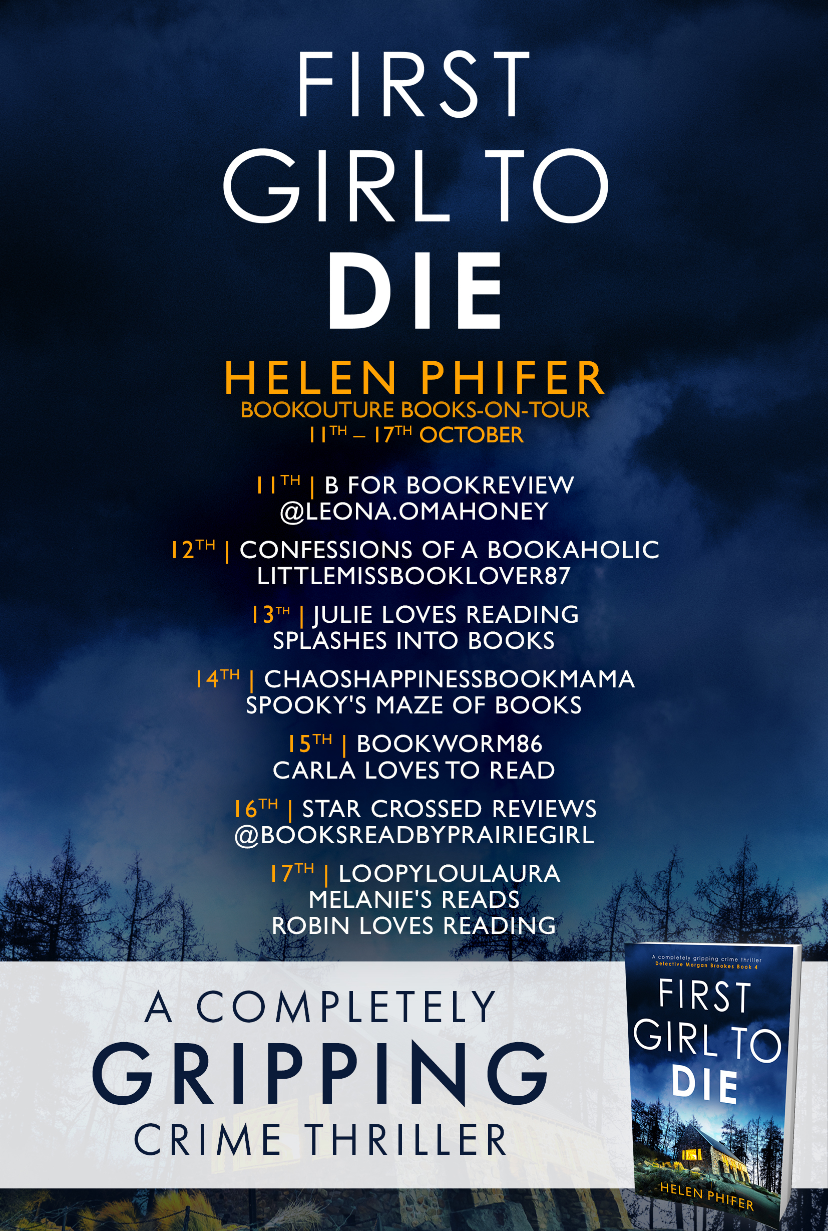 First Girl To Die blog tour banner